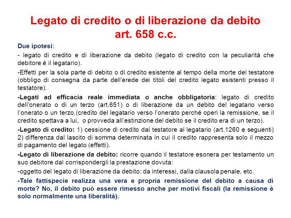 Legato di credito o di liberazione da debito art.658 c.c.