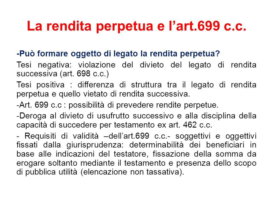 La rendita perpetua e l'art.699 c.c.-Può formare oggetto di legato la rendita perpetua.