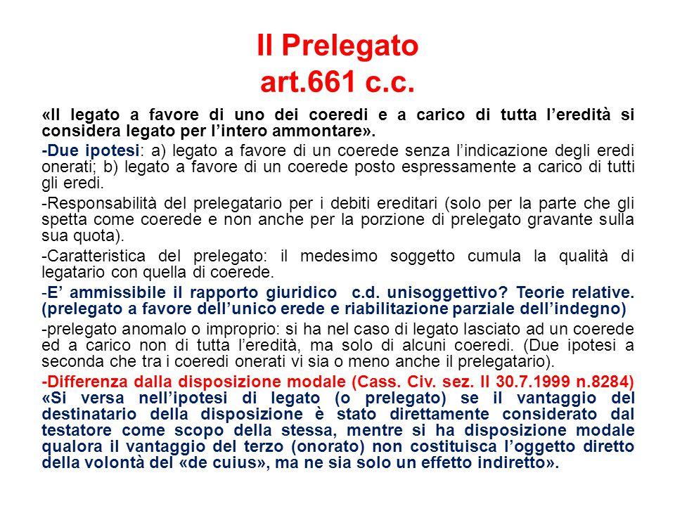 Il Prelegato art.661 c.c.