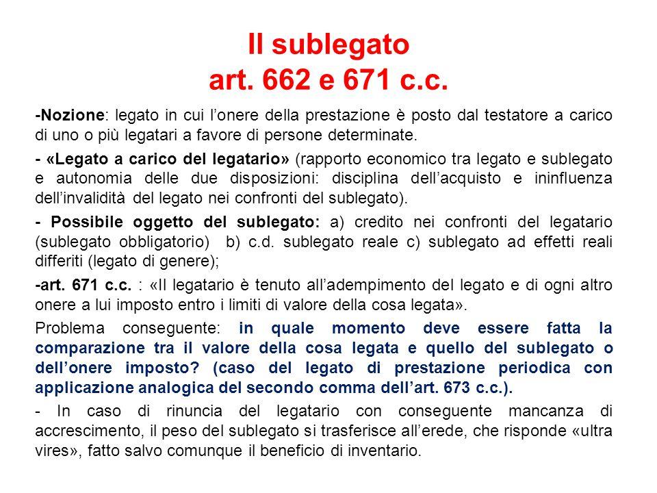 Il sublegato art.662 e 671 c.c.
