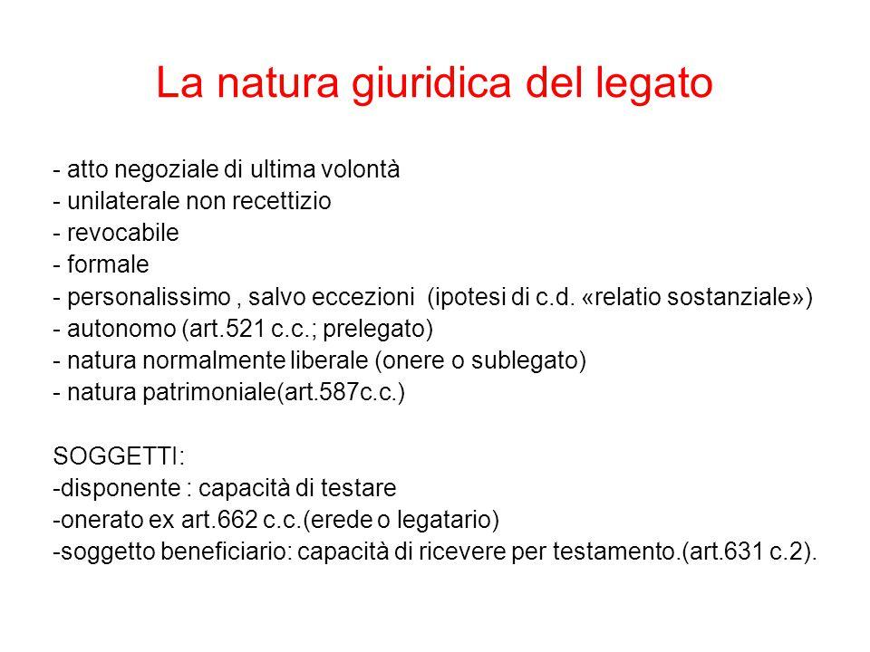 La natura giuridica del legato - atto negoziale di ultima volontà - unilaterale non recettizio - revocabile - formale - personalissimo, salvo eccezioni (ipotesi di c.d.