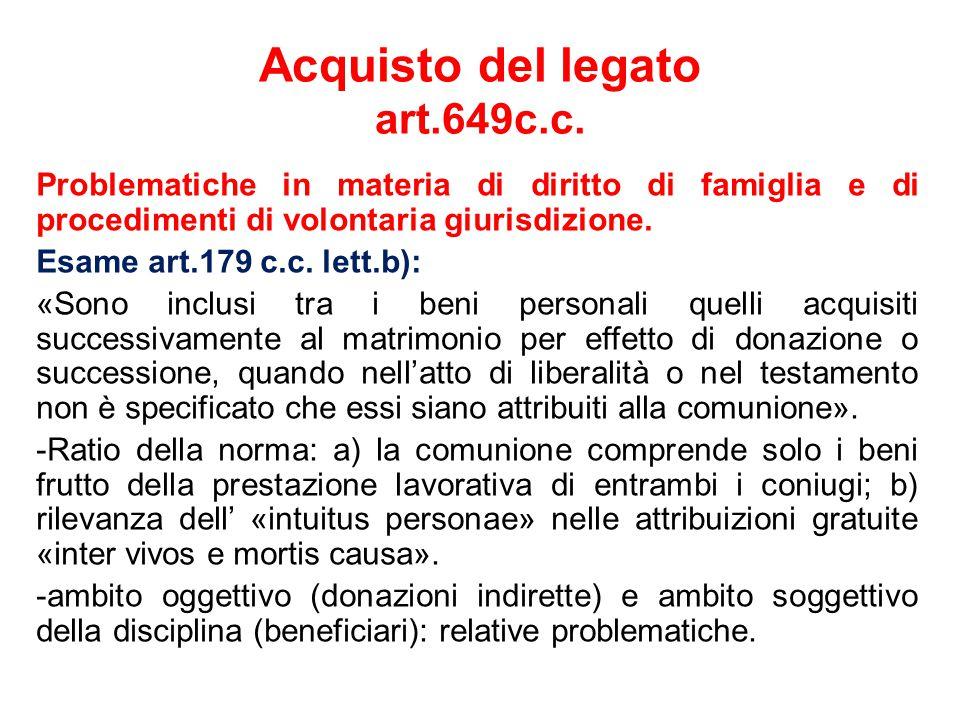 Acquisto del legato art.649c.c.