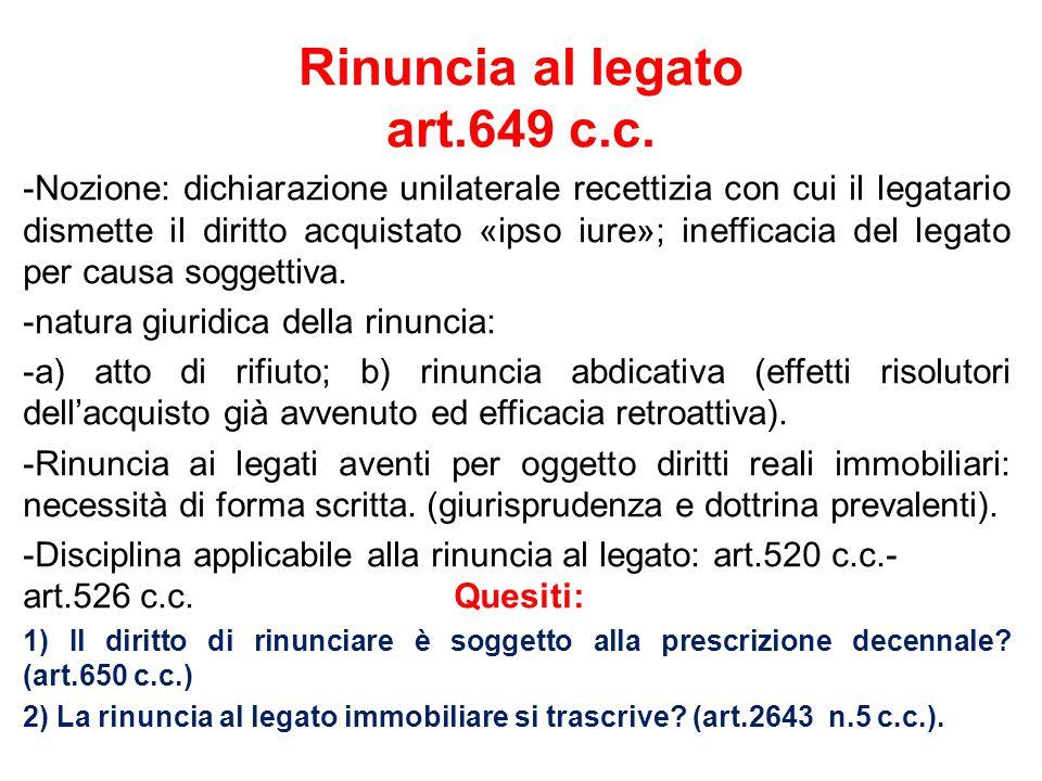 Rinuncia al legato art.649 c.c.
