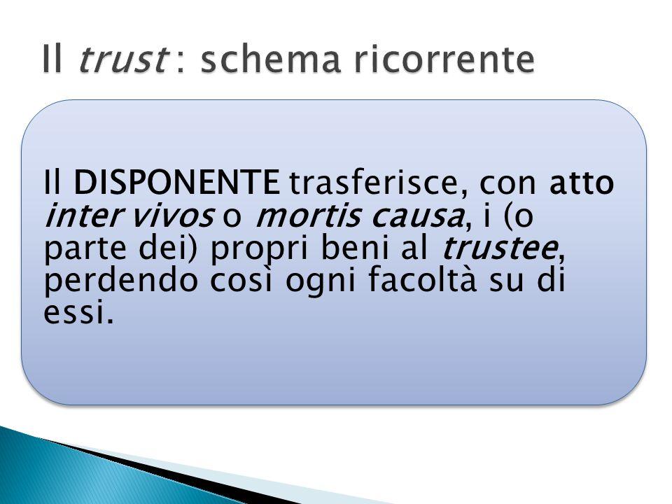 Il DISPONENTE trasferisce, con atto inter vivos o mortis causa, i (o parte dei) propri beni al trustee, perdendo così ogni facoltà su di essi.