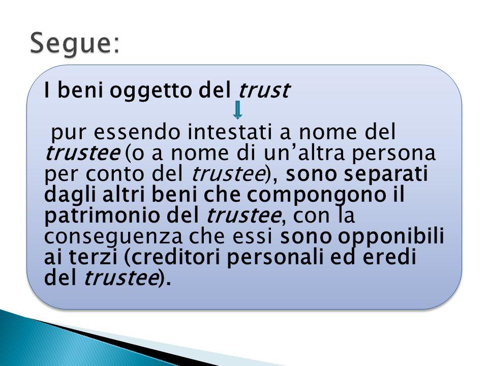 I beni oggetto del trust pur essendo intestati a nome del trustee (o a nome di un'altra persona per conto del trustee), sono separati dagli altri beni