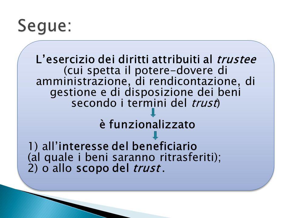 L'esercizio dei diritti attribuiti al trustee (cui spetta il potere-dovere di amministrazione, di rendicontazione, di gestione e di disposizione dei b