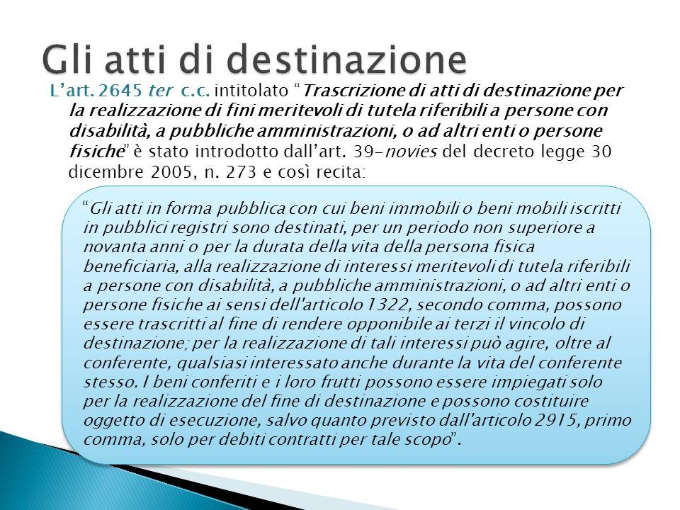 """L'art. 2645 ter c.c. intitolato """"Trascrizione di atti di destinazione per la realizzazione di fini meritevoli di tutela riferibili a persone con disab"""