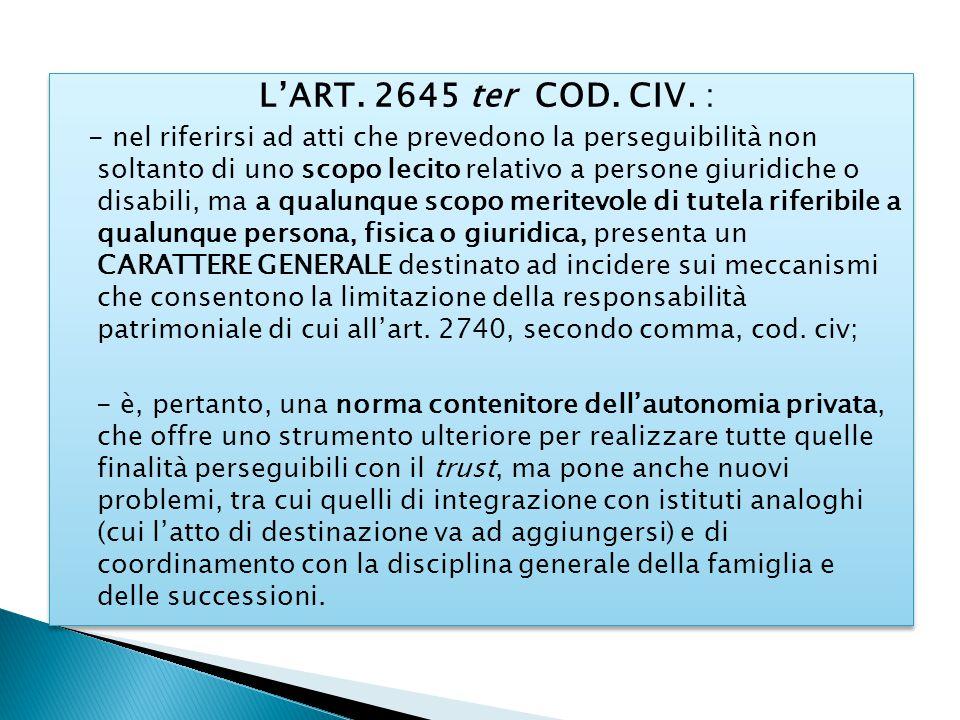 L'ART. 2645 ter COD. CIV. : - nel riferirsi ad atti che prevedono la perseguibilità non soltanto di uno scopo lecito relativo a persone giuridiche o d