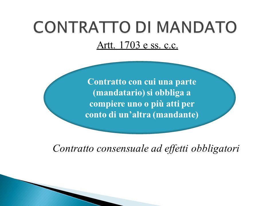 Artt. 1703 e ss. c.c. Contratto consensuale ad effetti obbligatori Contratto con cui una parte (mandatario) si obbliga a compiere uno o più atti per c