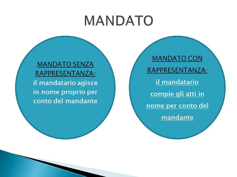 MANDATO SENZA RAPPRESENTANZA: il mandatario agisce in nome proprio per conto del mandante MANDATO CON RAPPRESENTANZA: il mandatario compie gli atti in
