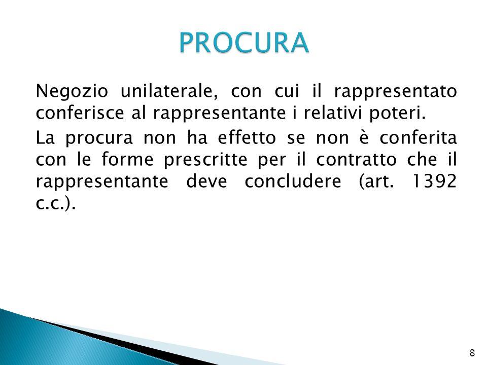 8 Negozio unilaterale, con cui il rappresentato conferisce al rappresentante i relativi poteri. La procura non ha effetto se non è conferita con le fo