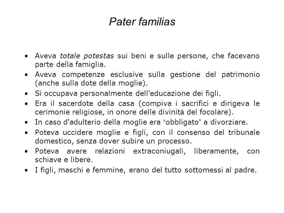 Pater familias Aveva totale potestas sui beni e sulle persone, che facevano parte della famiglia. Aveva competenze esclusive sulla gestione del patrim