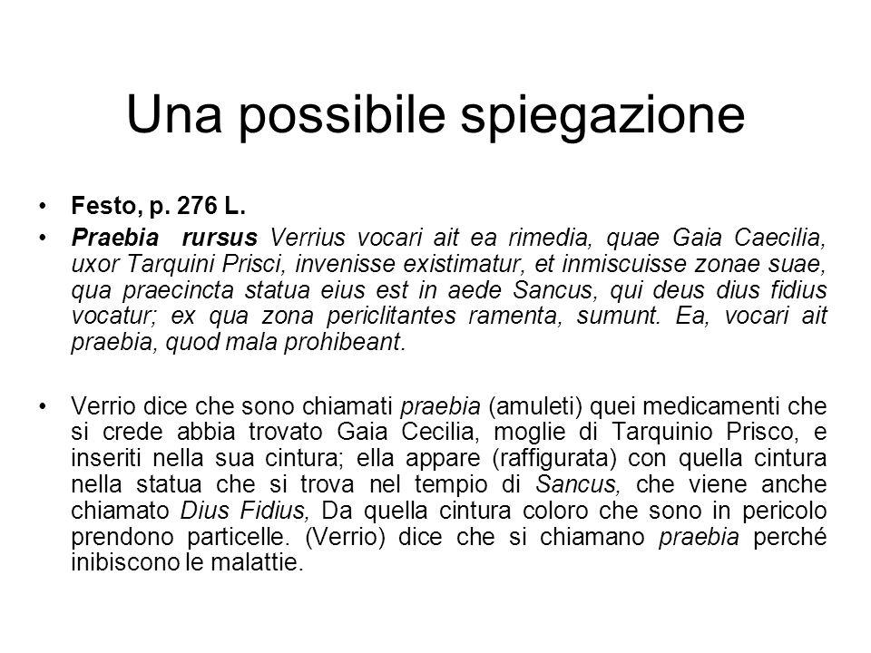 Una possibile spiegazione Festo, p. 276 L. Praebia rursus Verrius vocari ait ea rimedia, quae Gaia Caecilia, uxor Tarquini Prisci, invenisse existimat