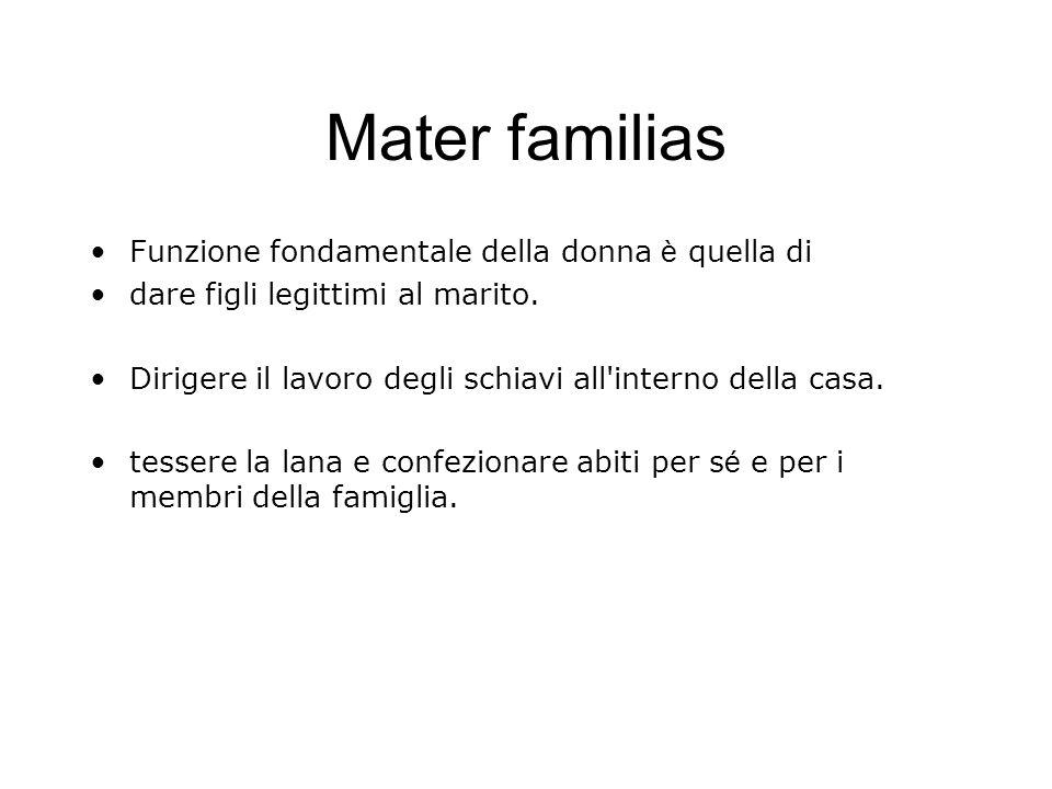 Mater familias Funzione fondamentale della donna è quella di dare figli legittimi al marito. Dirigere il lavoro degli schiavi all'interno della casa.