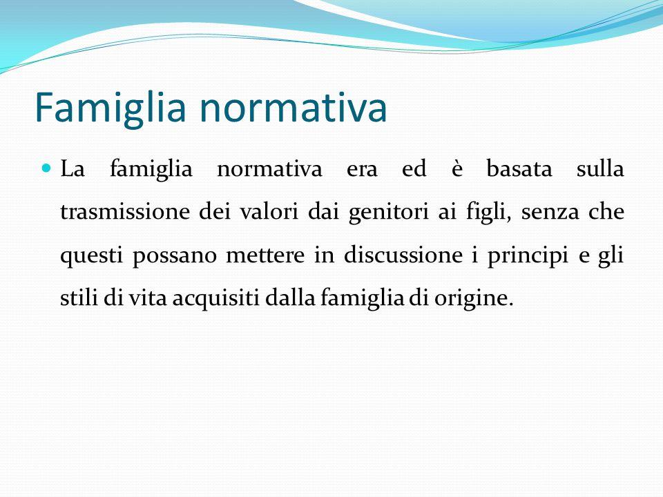 Famiglia normativa La famiglia normativa era ed è basata sulla trasmissione dei valori dai genitori ai figli, senza che questi possano mettere in disc