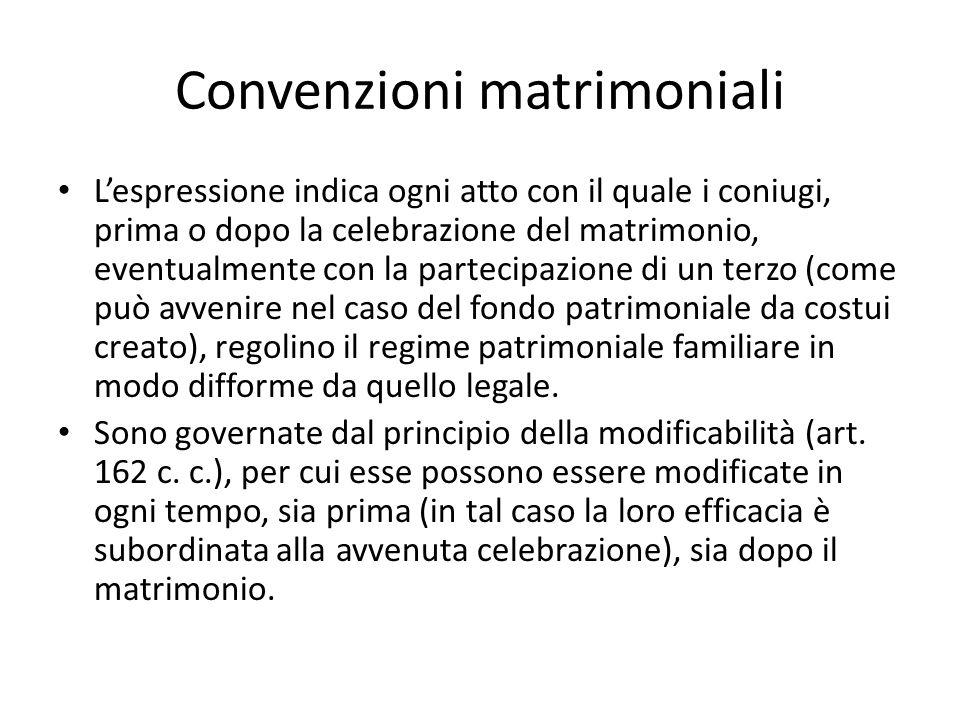 Convenzioni matrimoniali L'espressione indica ogni atto con il quale i coniugi, prima o dopo la celebrazione del matrimonio, eventualmente con la part