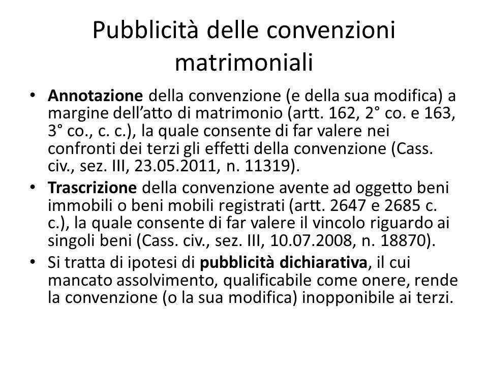 Pubblicità delle convenzioni matrimoniali Annotazione della convenzione (e della sua modifica) a margine dell'atto di matrimonio (artt. 162, 2° co. e