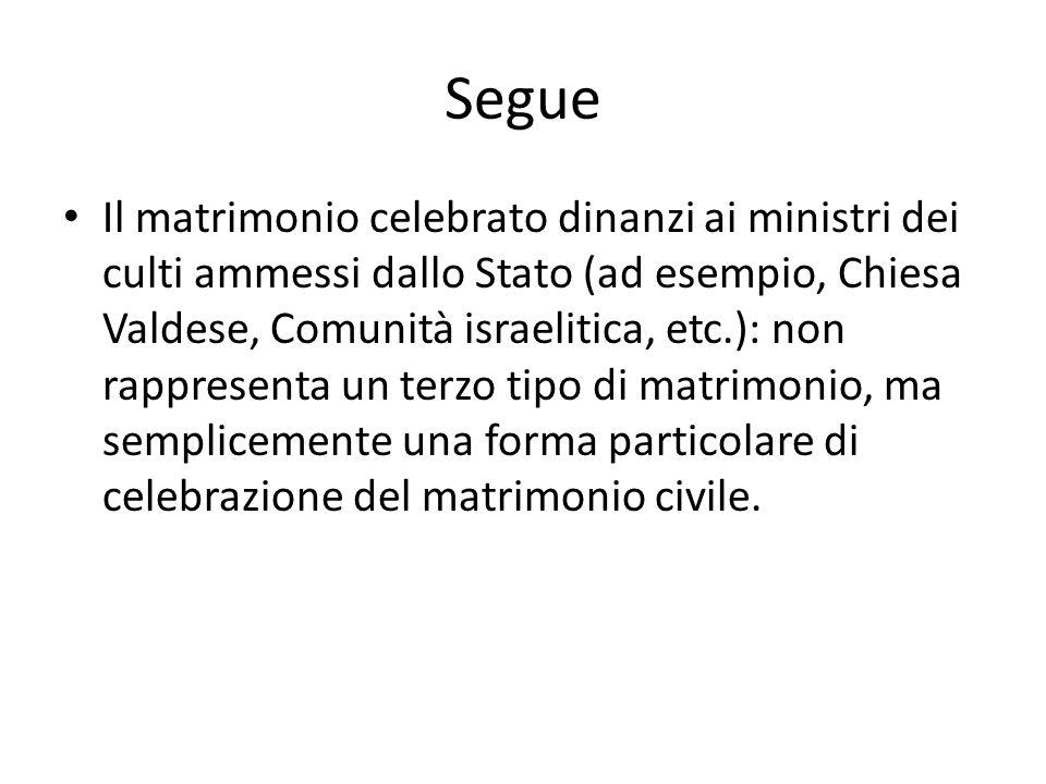 Segue Il matrimonio celebrato dinanzi ai ministri dei culti ammessi dallo Stato (ad esempio, Chiesa Valdese, Comunità israelitica, etc.): non rapprese