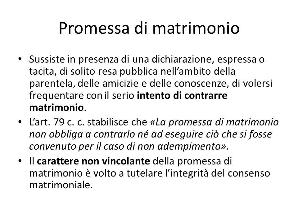 Promessa di matrimonio Sussiste in presenza di una dichiarazione, espressa o tacita, di solito resa pubblica nell'ambito della parentela, delle amiciz