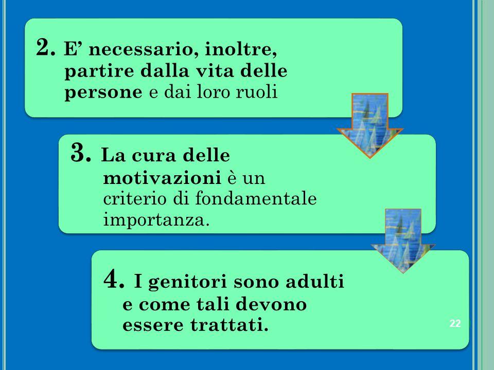2. E' necessario, inoltre, partire dalla vita delle persone e dai loro ruoli 3. La cura delle motivazioni è un criterio di fondamentale importanza. 4.