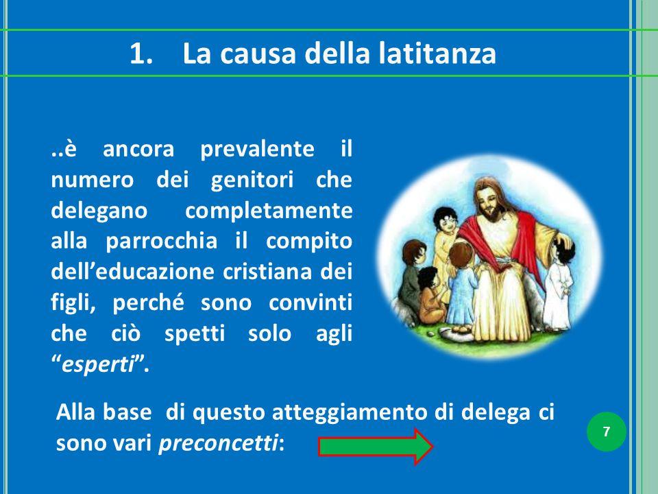 7 1.La causa della latitanza..è ancora prevalente il numero dei genitori che delegano completamente alla parrocchia il compito dell'educazione cristia