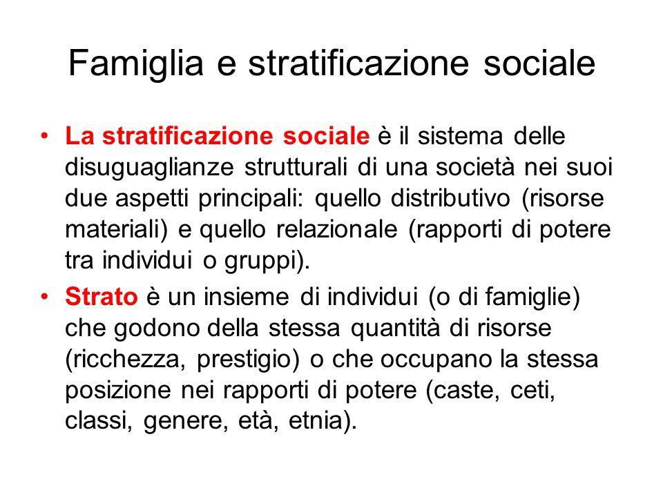 Famiglia e stratificazione sociale La stratificazione sociale è il sistema delle disuguaglianze strutturali di una società nei suoi due aspetti princi