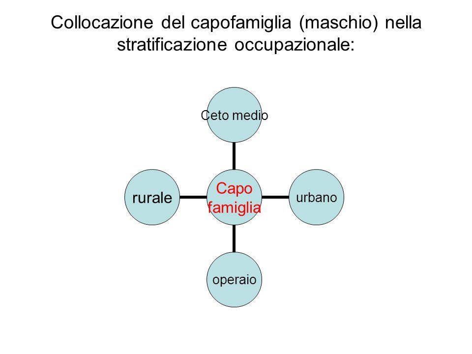 Collocazione del capofamiglia (maschio) nella stratificazione occupazionale: Capo famiglia Ceto medio urbanooperaiorurale