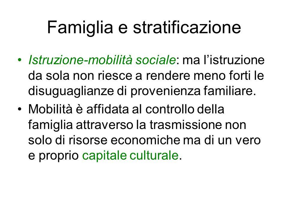Famiglia e stratificazione Istruzione-mobilità sociale: ma l'istruzione da sola non riesce a rendere meno forti le disuguaglianze di provenienza famil