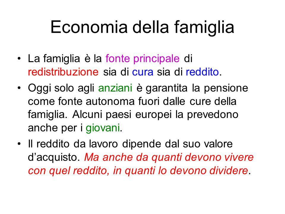 Economia della famiglia La famiglia è la fonte principale di redistribuzione sia di cura sia di reddito. Oggi solo agli anziani è garantita la pension