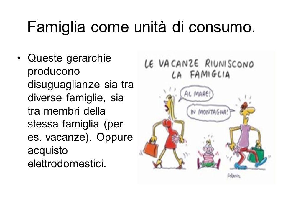 Famiglia come unità di consumo. Queste gerarchie producono disuguaglianze sia tra diverse famiglie, sia tra membri della stessa famiglia (per es. vaca