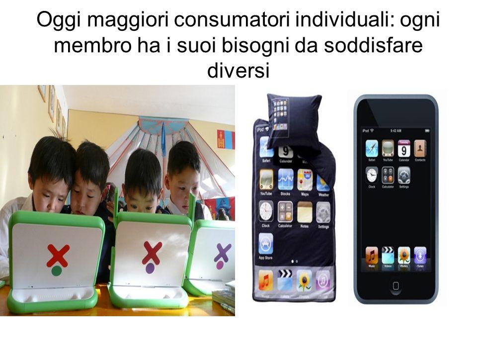 Oggi maggiori consumatori individuali: ogni membro ha i suoi bisogni da soddisfare diversi.