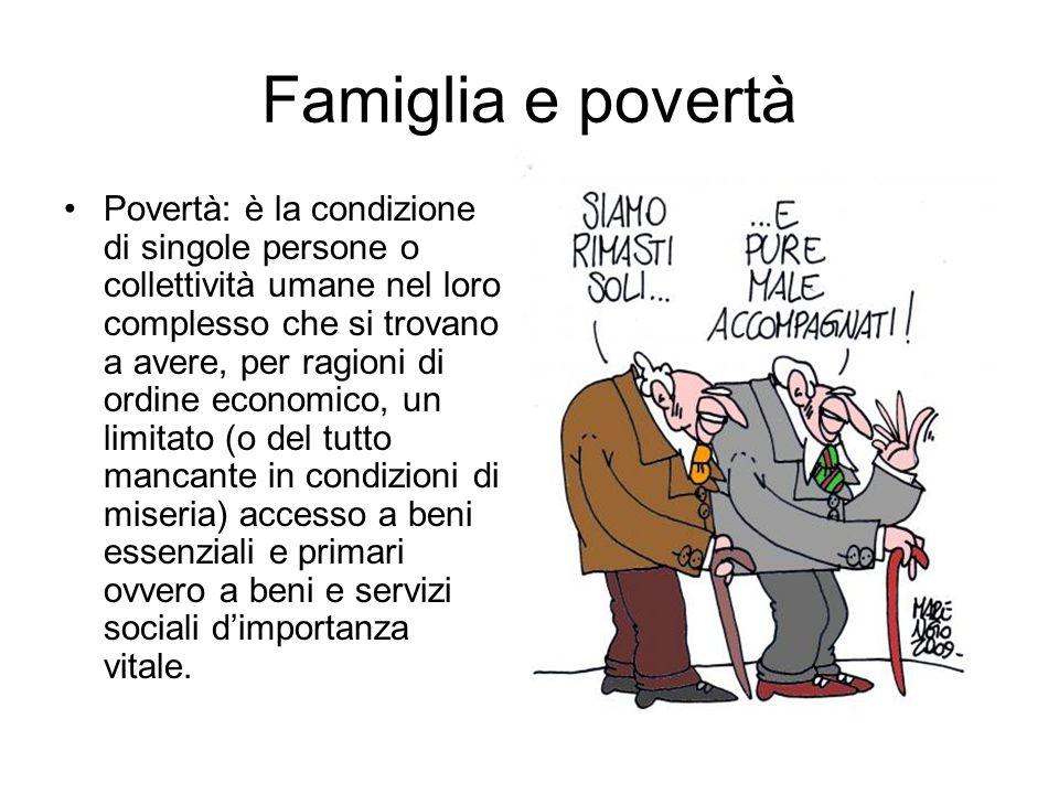 Famiglia e povertà Povertà: è la condizione di singole persone o collettività umane nel loro complesso che si trovano a avere, per ragioni di ordine e