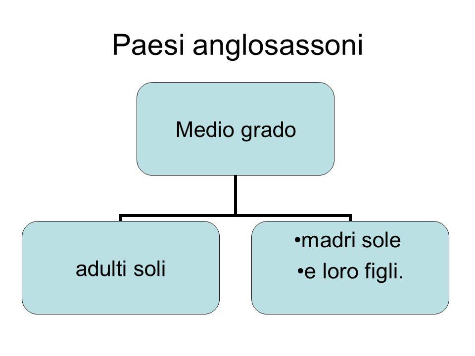 Paesi anglosassoni Medio grado adulti soli madri sole e loro figli.