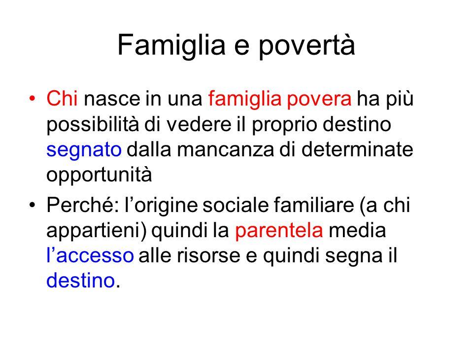 Famiglia e povertà Chi nasce in una famiglia povera ha più possibilità di vedere il proprio destino segnato dalla mancanza di determinate opportunità