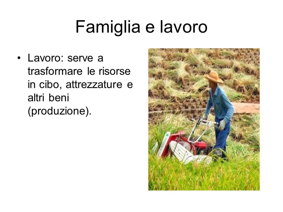 Famiglia e lavoro Lavoro: serve a trasformare le risorse in cibo, attrezzature e altri beni (produzione).