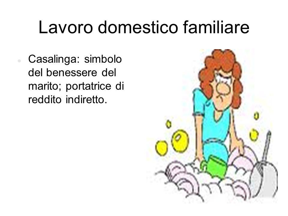 Lavoro domestico familiare Casalinga: simbolo del benessere del marito; portatrice di reddito indiretto.