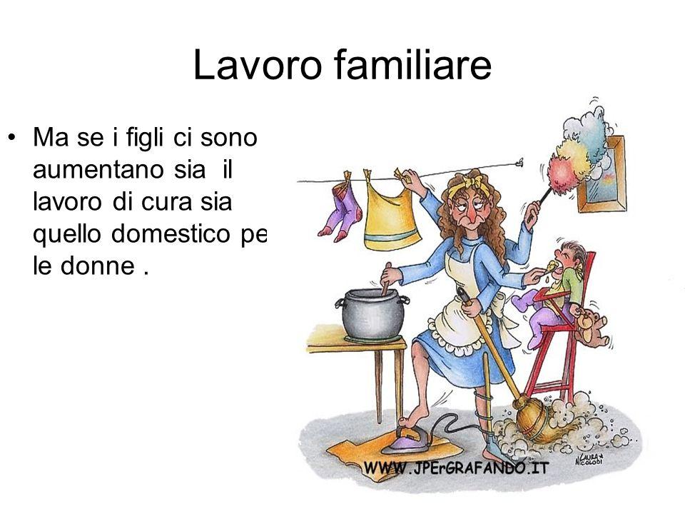 Lavoro familiare Ma se i figli ci sono aumentano sia il lavoro di cura sia quello domestico per le donne.
