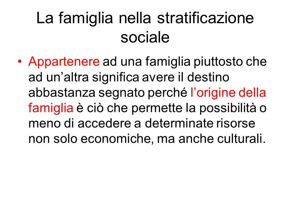 La famiglia nella stratificazione sociale Appartenere ad una famiglia piuttosto che ad un'altra significa avere il destino abbastanza segnato perché l