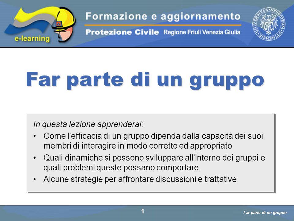 Far parte di un gruppo a cura di D. Bellè Laboratorio e-Learning (LabeL) Università di Udine 1 In questa lezione apprenderai: Come l'efficacia di un g