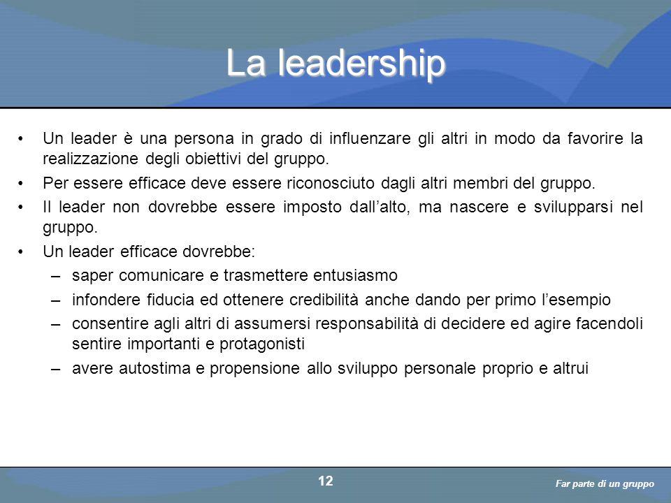 Far parte di un gruppo a cura di D. Bellè Laboratorio e-Learning (LabeL) Università di Udine 12 La leadership Un leader è una persona in grado di infl