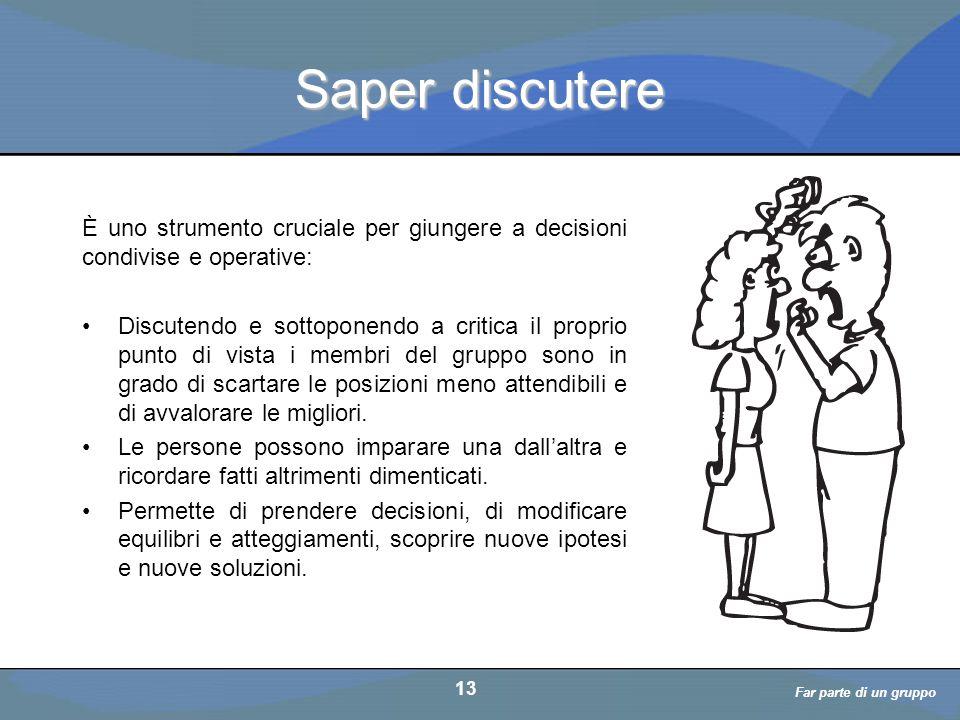 a cura di D. Bellè Laboratorio e-Learning (LabeL) Università di Udine 13 Saper discutere È uno strumento cruciale per giungere a decisioni condivise e