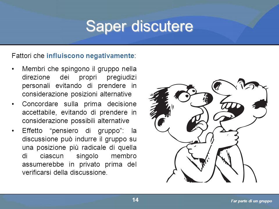 a cura di D. Bellè Laboratorio e-Learning (LabeL) Università di Udine 14 Saper discutere Membri che spingono il gruppo nella direzione dei propri preg