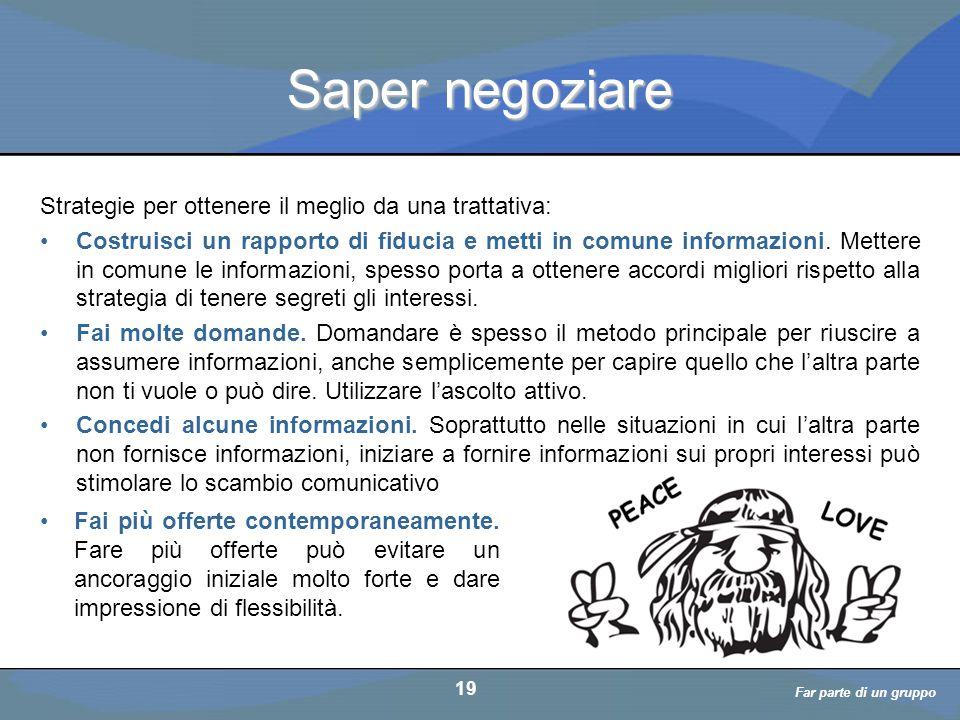 a cura di D. Bellè Laboratorio e-Learning (LabeL) Università di Udine 19 Saper negoziare 19 Far parte di un gruppo Strategie per ottenere il meglio da