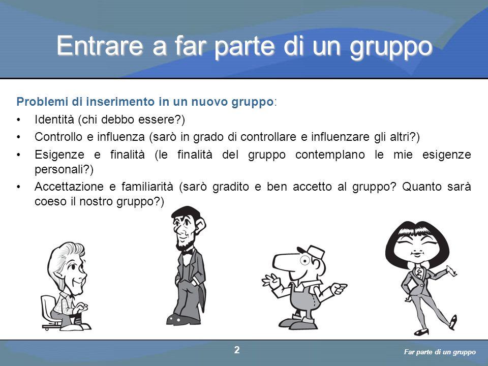 a cura di D. Bellè Laboratorio e-Learning (LabeL) Università di Udine 2 Entrare a far parte di un gruppo 2 Far parte di un gruppo Problemi di inserime
