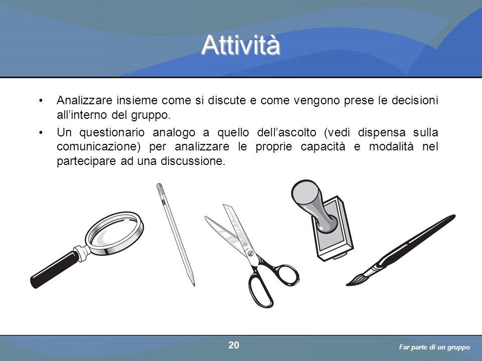 Far parte di un gruppo a cura di D. Bellè Laboratorio e-Learning (LabeL) Università di Udine 20 Attività Analizzare insieme come si discute e come ven