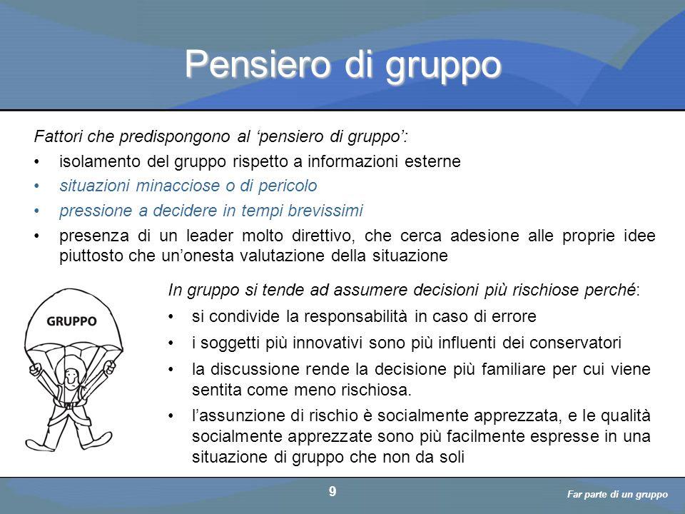 a cura di D. Bellè Laboratorio e-Learning (LabeL) Università di Udine 9 Pensiero di gruppo Fattori che predispongono al 'pensiero di gruppo': isolamen