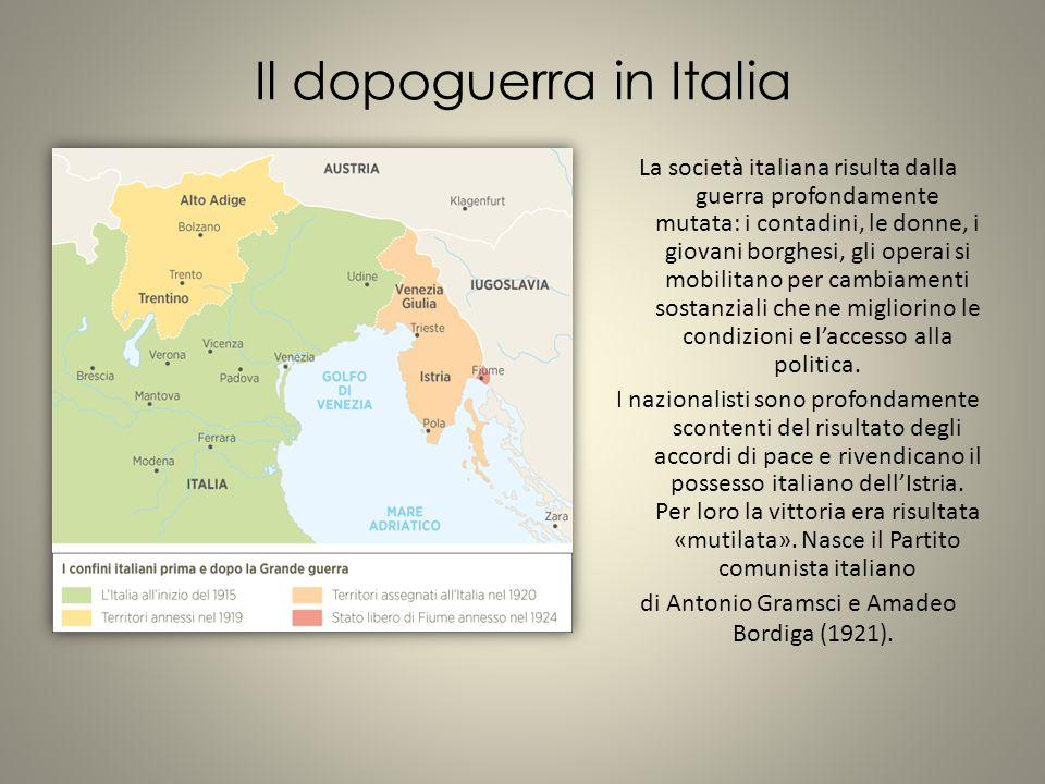 Il dopoguerra in Italia La società italiana risulta dalla guerra profondamente mutata: i contadini, le donne, i giovani borghesi, gli operai si mobilitano per cambiamenti sostanziali che ne migliorino le condizioni e l'accesso alla politica.