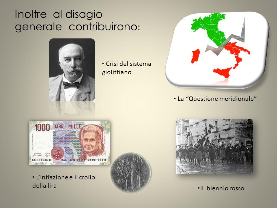 Un uomo politico spregiudicato e ambizioso, Benito Mussolini, che era stato espulso dal Partito socialista per aver sostenuto la necessità dell'intervento in guerra dell'Italia, cercò di trarre profitto dallo scontento generale fondando un nuovo partito, il Partito fascista.
