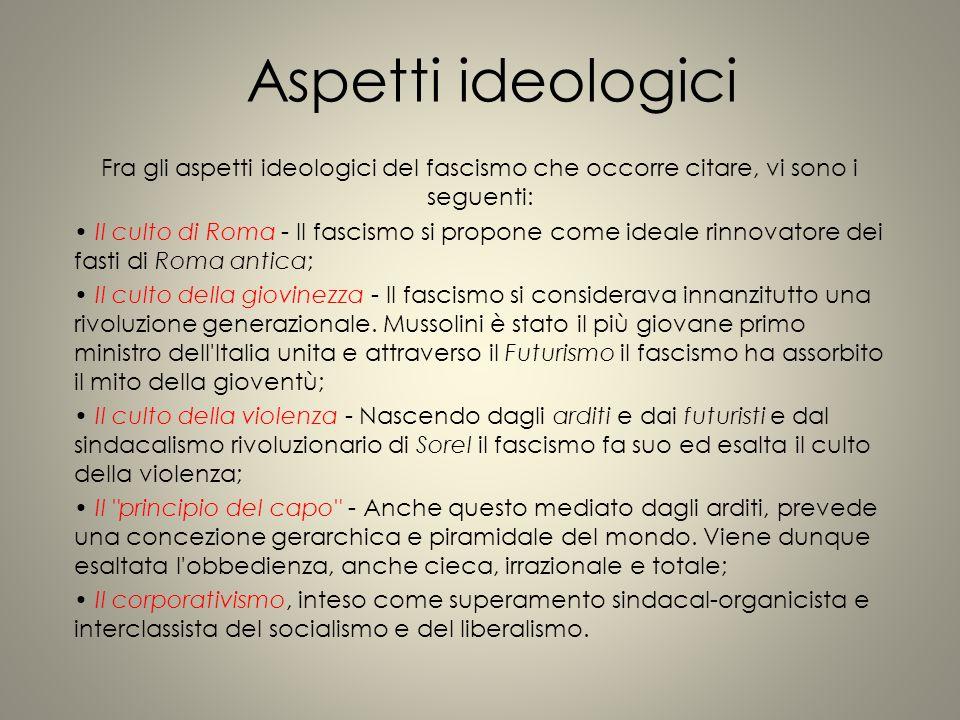 Aspetti ideologici Fra gli aspetti ideologici del fascismo che occorre citare, vi sono i seguenti: Il culto di Roma - Il fascismo si propone come idea