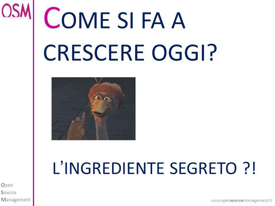 O pen S ource M anagement www.opensourcemanagement.it C OME SI FA A CRESCERE OGGI? L'INGREDIENTE SEGRETO ?!